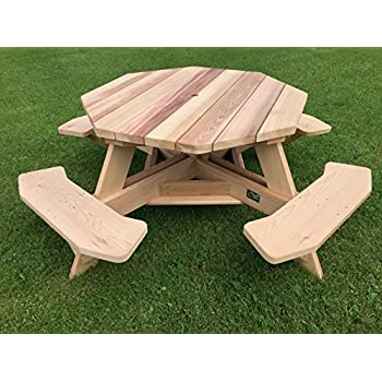 "Western Red Cedar 49"" Octagon Top Picnic Table w/Easy Seating"