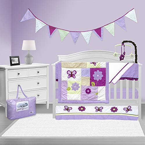 (Pam Grace Creations 10 Piece Crib Bedding Set, Lavender Butterfly)