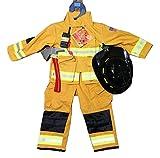 Teetot Authentic Boys Fireman Halloween Costume Firefighter Size 5-6 TAN