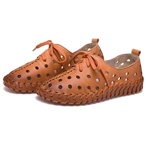 Shenn Mujer Hueco Tacón bajo Ocio Cuero Zapatillas De Deporte De Moda Zapatos marrón claro
