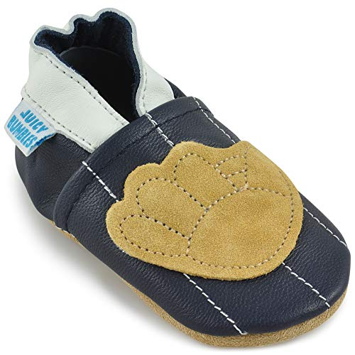 Beautiful Soft Leather Baby Shoes - Crib Shoes with Suede Soles (Soft Boys Leather)