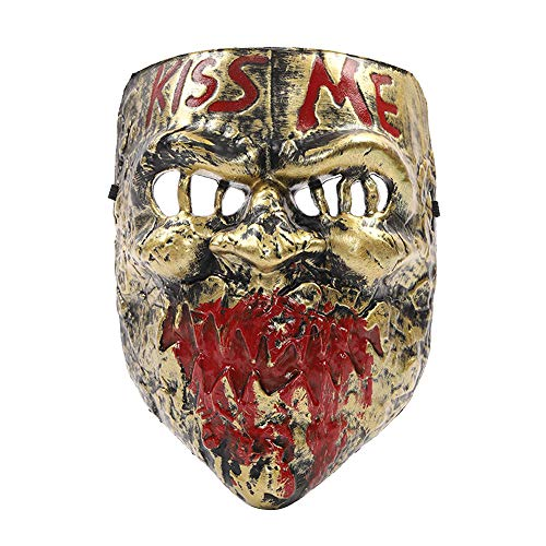 Hot Horror Game Scary Elements Butcher & Joker Mask for Cosplay & Make Up Party (Gold Cheap Version)
