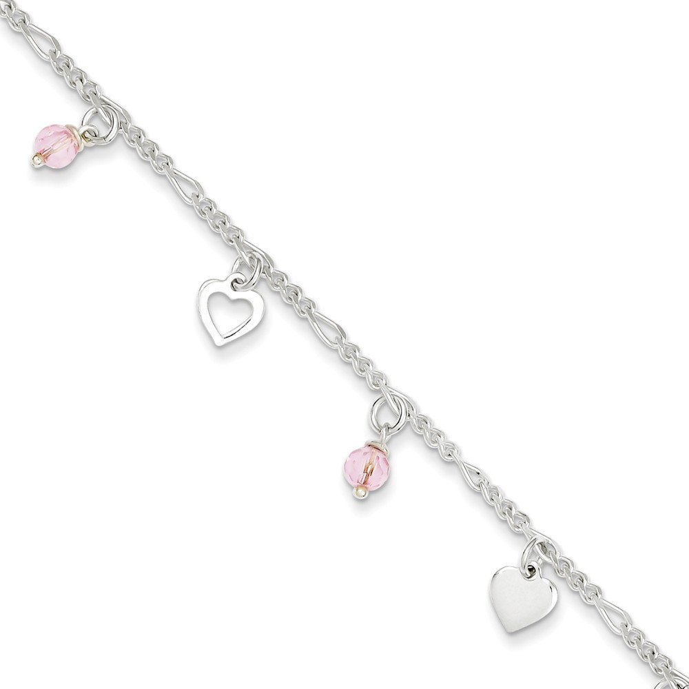 PriceRock Sterling Silver 9 Polished Heart and Rose Glass w/1in ext. Anklet 9 Inches Long