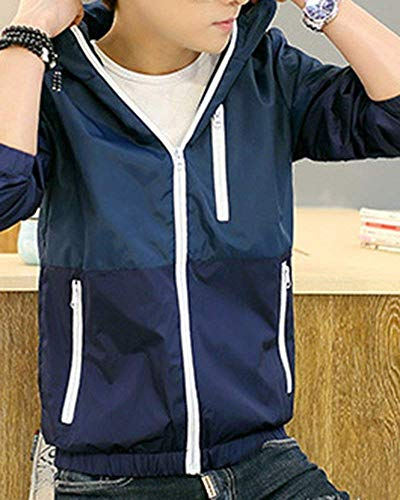 Capispalla Lunga Con Laterali Rinalay Giubbotto Bomber Casuale Blau Cerniera Manica Formale A Uomo Giacca Tasche Pilota Cappuccio Classico qHxOO1Zt