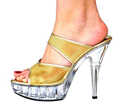Or en PVC à haut talons, plateforme FSPVC7939GG chaussures à 4/5/6/7/8