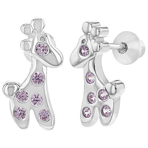 925 Sterling Silver Pink CZ Screw Back Giraffe Earrings Toddlers Kids