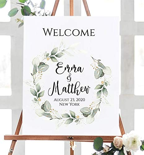 Welcome Sign Template Intant Download Greenery Welcome Sign