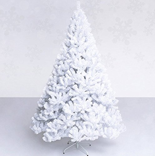 SAILUN 7ft - 210cm Artificial Christmas Tree White PVC Xmas Tree with Metal Stand, For Christmas Decoration, Party, Indoor, Home