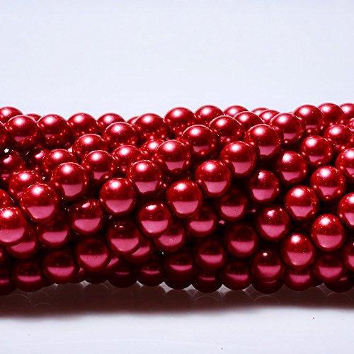 AMZ Beads - 250 Loose 8mm Glass Rich Round Pearls Jewelry Making DIY Craft Beads (Crimson -