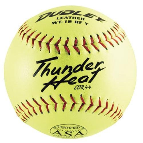 "Dudley ASA Thunder Heat 12"" (.44) Slow Pitch Softball - Leather Cover - Dozen"
