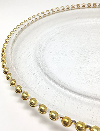 Lovely Glass Dinnerware Formal 13-Inch Beaded Rim Clear Glass Charger Plate Wedding Receptions Anniversary Dinners Modern Appeal Glass Plates (4, Gold) by Unique Imports (Image #1)