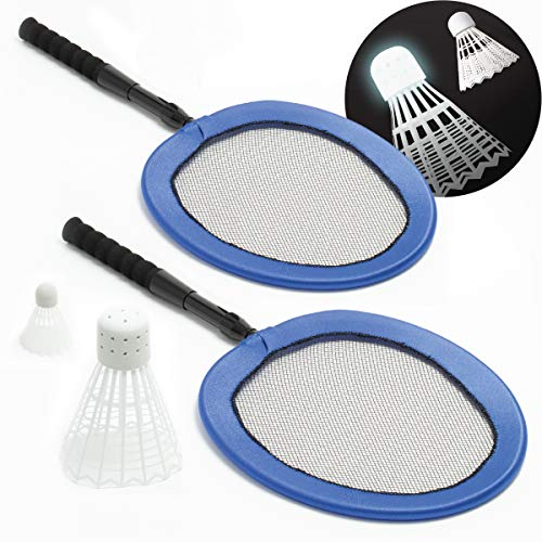 Wembley Complete Badminton Set with Two Collapsible Rackets, Jumbo LED Birdie and Standard Shuttlecock, Best Backyard and Beach Games Fun for Kids and Adults, Extra Large Bird Lights Up for Night Play
