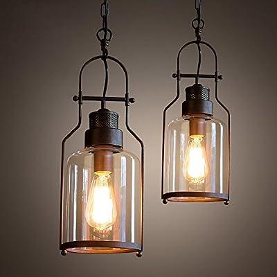 Lovedima Industrial 1-Light Rust Metal Glass Lantern Pendant Light Ceiling Lamp Fixture