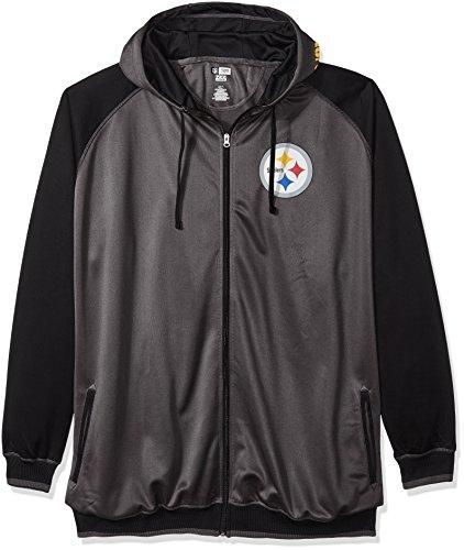 Nfl Mens Fleece - NFL Pittsburgh Steelers Men FULL ZIP POLY FLEECE RAGLAN, CHARCOAL/BLACK, 2XT
