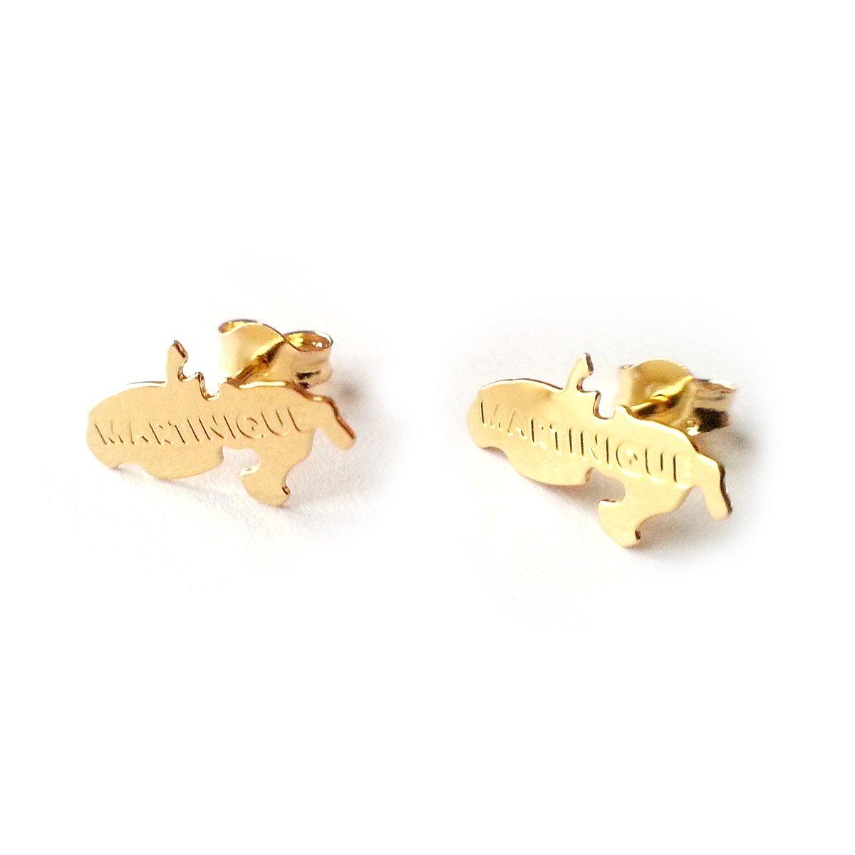 Diamantly - Boucles D'oreilles Carte Martinique - or 375/1000 (9 Carats) - Femme - Fille