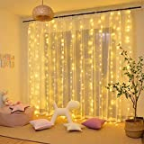 TOFU Remote Control 300 LED Window Curtain String Light Wedding Party Home Garden Bedroom Outdoor Indoor Wall Decorations, Warm White
