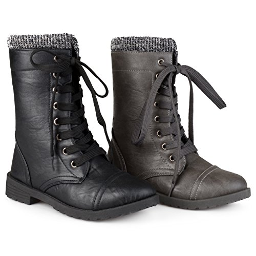 Brinley Kids Toddler Little Kids Lace-up Ribbed Combat Boots