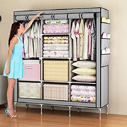 HOUZIE 66Inch Portable Wardrobe Rack Cabinet Collapsible Clothes Storage DIY  (Red/Maroon)