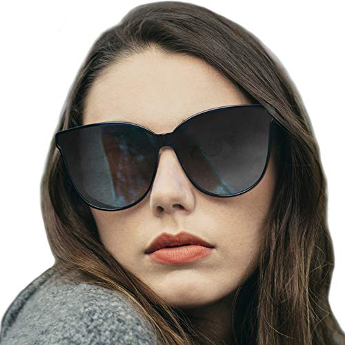 LVIOE Polarized Oversized Frame 100% UV Protection Fashion Cateyes Style Sunglasses Eyewear for Women (Black, Black) -