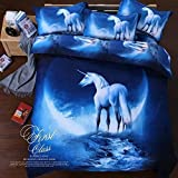 Sandyshow Galaxy Unicorn 3PC Duvet Cover Sets Pegasus Out Space Bedding Full/Queen Size For Kids, Wrinkle, Fade, Stain Resistant, Hypoallergenic (Full/Queen, Unicorn)