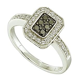 0.33 Carat (ctw) 14k White Gold Round Black & White Diamond Ladies Vintage Style Right Hand Fashion Ring