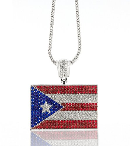 Iced Out Silver Puerto Rican Flag Pendant w/ 30