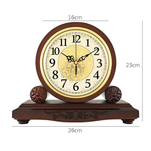 HAOFAY Solid Wood Battery Operation, No Ticking, Shelf Clock Chronograph Clock 9'' × 10.2'' × 3.5'' , Maroon ( Color : Not timekeeping ) by CLOCK (Image #1)