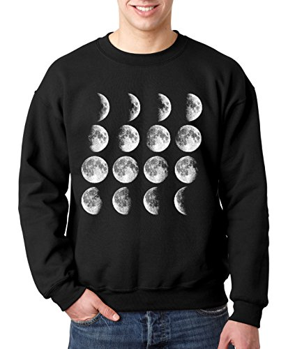 New Way 149 - Crewneck Moon Phases Stages Full Cresent Gibbous Unisex Pullover Sweatshirt XL ()