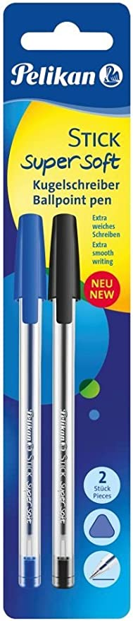 4 pi/èces en polybag Stylo-bille Stick Super Soft Bleu