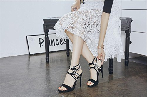 MNII Stylish with Size and Black Fashion Rhinestones Fish Beautiful Party Prom Fine Mouth Heels Ms High Party Buckle rrH6X4