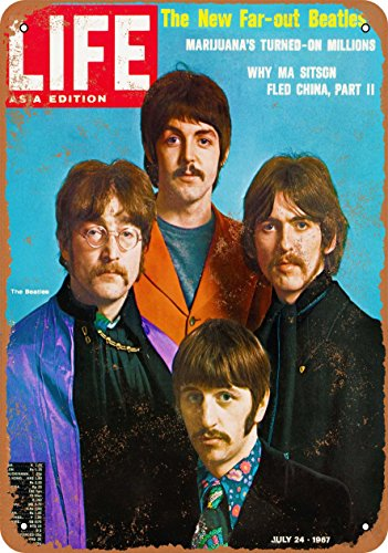 Wall-Color 9 x 12 Metal Sign - Beatles 1967 Asia Life Magazine Cover - Vintage Look