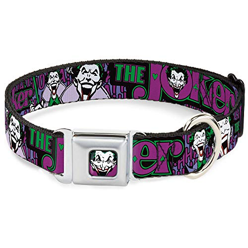 Buckle Down Seatbelt Buckle Dog Collar - Joker Face/Logo/Spades Black/Green/Purple - 1.5