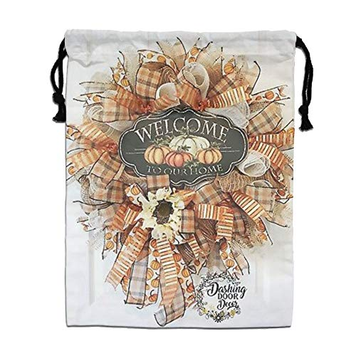 Custom Drawstring Bag,Autumn-Fall-Pumpkins Holiday/Party/Christmas Tote Bag 15.7(H)x 11.8(W) in by DFGTLY