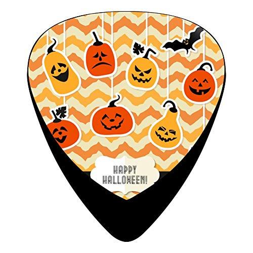 Happy Halloween Pumpkin Guitar Picks Plectrums 12-Pack Music Design Celluloid 3 Sizes Thin Medium Heavy ()