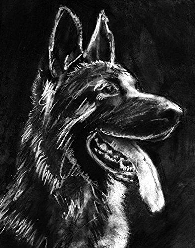 German Shepherd Gift, Wall Art Print, Black German Shepherd Artwork, GSD Owner Gift, Charcoal Alsatian Dog Art, Dog Wall Art Print, Signed Art Print by Oscar Jetson