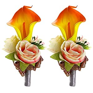 Febou Boutonniere Pack of 2 Calla Lily Wedding Boutonniere for Groom Bridegroom Groomsman Perfect for Wedding, Prom, Party (B-Orange) 16