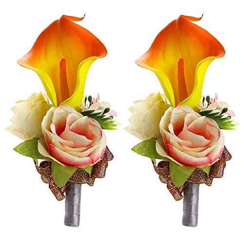 - Febou Boutonniere Pack of 2 Calla Lily Wedding Boutonniere for Groom Bridegroom Groomsman Perfect for Wedding, Prom, Party (B-Orange)