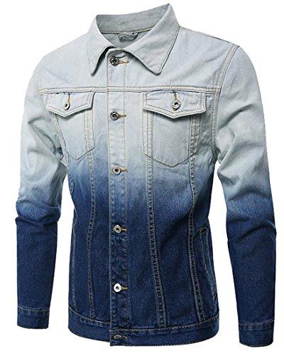 Fulok Men's Slim Fit Ombre Color Motorcycle Hipster Denim Jacket Light Blue M