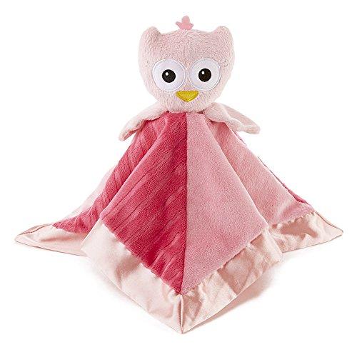 Snoozies Cozy Little Lovies Plush Satin Baby Blanket - Pink Owl ()