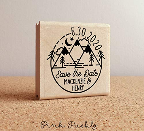 Save the Date Stamp with Mountains, Mountain Destination Wedding Stamp -