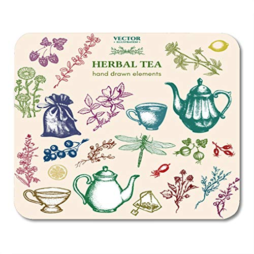 - Semtomn Gaming Mouse Pad Herbal Tea Collection Inking Vintage Sketch Cups Teapot Dragonfly 9.5