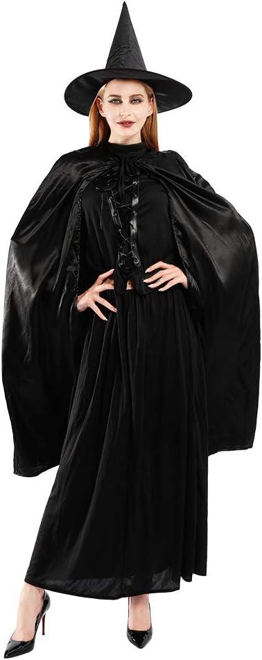 EraSpooky Costumi Costume da Strega per Donna Cappello Capo Mantello Cosplay Vestito da Festa di Halloween Carnevale per Adulte