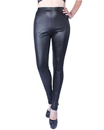 ZongSen Damen Kunstleder High Waist Leggings Taillenhoch Stretch-Hose  Schwarz XL 4eb482576f