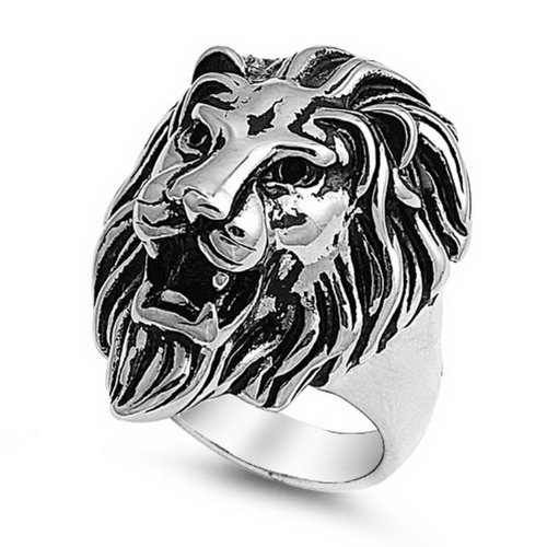 Lion Head Ladies Ring - Stainless Steel Casting Ring - Lion's Head - Size: 9
