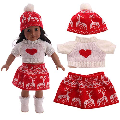 (Lywey 3PCS Chirstmas Hat + Sweater + Dress Clothes for 18 Inch American Girl Doll Accessory Girl Toy)