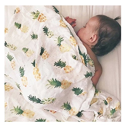 Infants Muslin Swaddle Blanket Nursery Toddler Newboren Sheet Soft Organic Bamboo Cotton Receiving Blankets Baby Shower Gift 47 x 47 Inch (Tropical Bamboo Nursery)