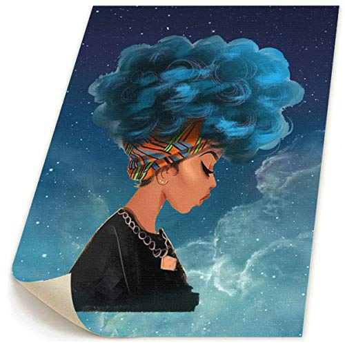 - Okoart Art-Logo Cool Africa Woman with Blue Natural Hair Modern Canvas Prints Pictures Painting Home Decoration Wall Decor Ready to Hang 20x24inches