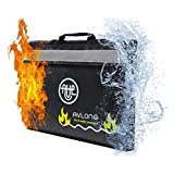 Fire Resistant Bag with Reflective Band – Document Holder Visible in the Dark – Large Waterproof and Fireproof Pouch for Money, Important Documents, and Valuables (Black)