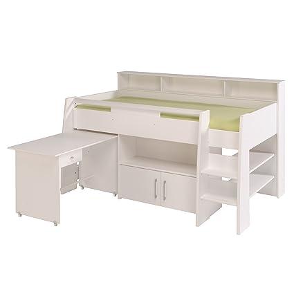 Amazoncom Parisot Swan Midsleeper Bed White Kitchen Dining - Parisot bedroom furniture