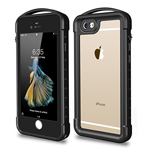 iPhone 6 / 6S Waterproof Case, SNOWFOX Outdoor Underwater Full Body Protective Cover Snowproof Dustproof Rugged IP68 Certified Waterproof Case for Apple iPhone 6S / 6(4.7 inch) - Black/Clear